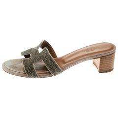 Hermes Gold Glitter Leather Oasis Slide Sandals Size 37