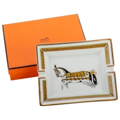 Hermes Gold Horse Porcelain Ashtray