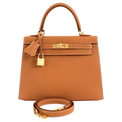 Hermes Gold Kelly 25  Epsom Sellier Bag Gold Hardware