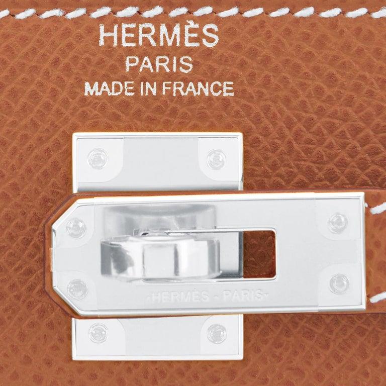 Hermes Gold Kelly 25cm Tan Sellier Shoulder Bag Z Stamp, 2021 RARE For Sale 5