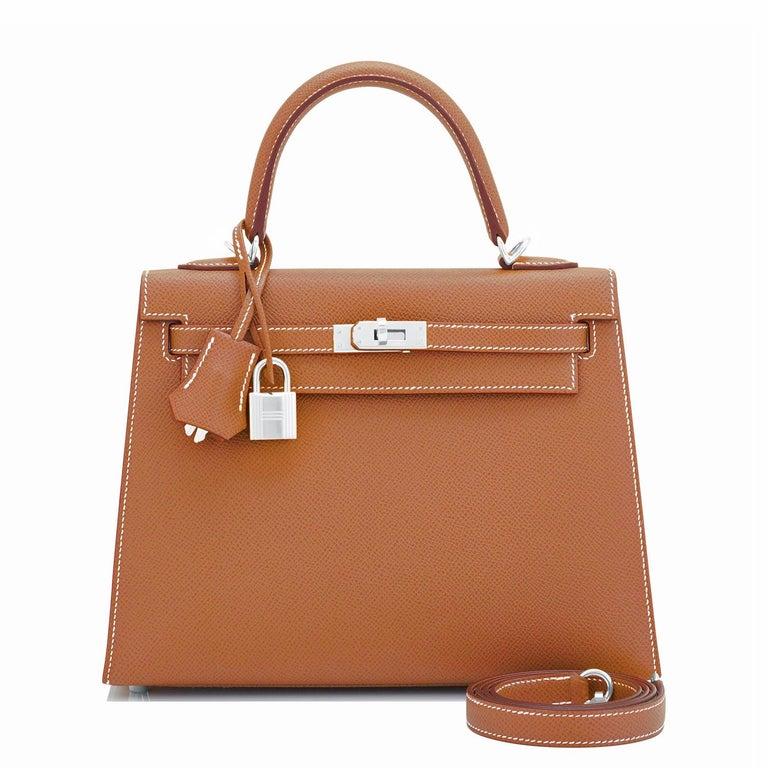 Brown Hermes Gold Kelly 25cm Tan Sellier Shoulder Bag Z Stamp, 2021 RARE For Sale