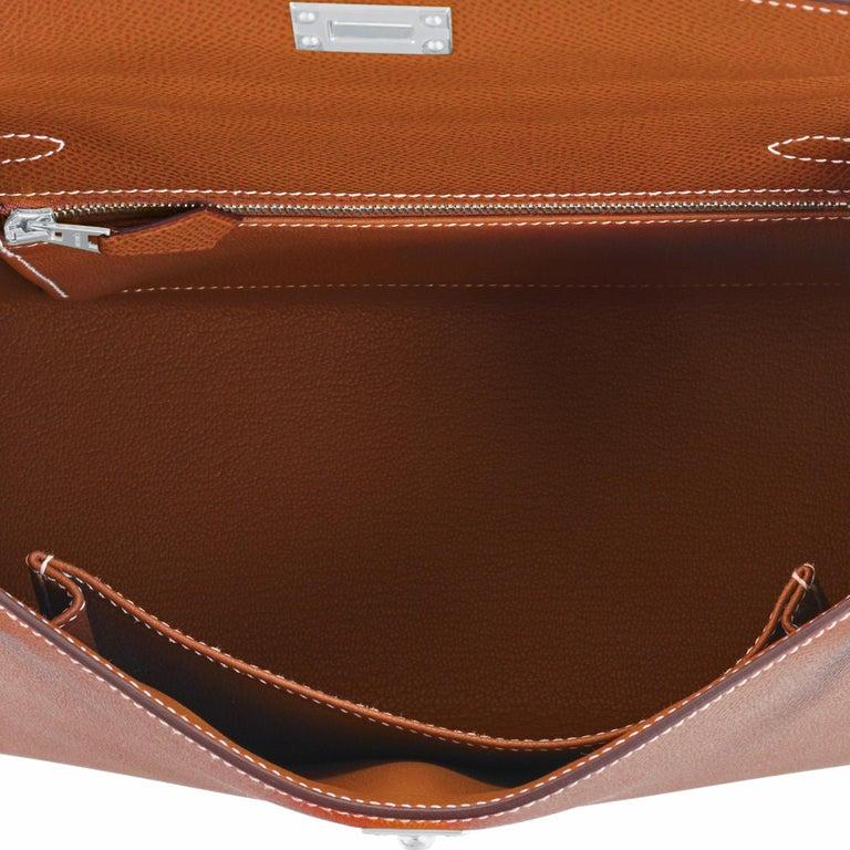 Hermes Gold Kelly 25cm Tan Sellier Shoulder Bag Z Stamp, 2021 RARE For Sale 3