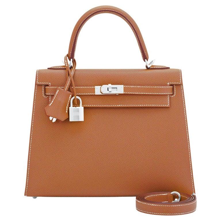 Hermes Gold Kelly 25cm Tan Sellier Shoulder Bag Z Stamp, 2021 RARE For Sale