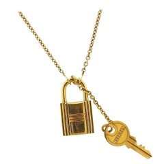 Hermès Gold Key and Lock Pendant Necklace