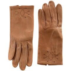 Hermès Gold Leather Eclipse Gloves size 6.5