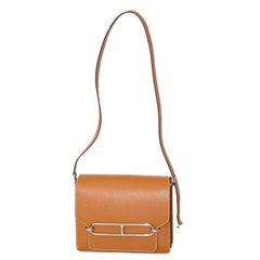 Hermes Gold Leather Palladium Hardware Roulis Bag