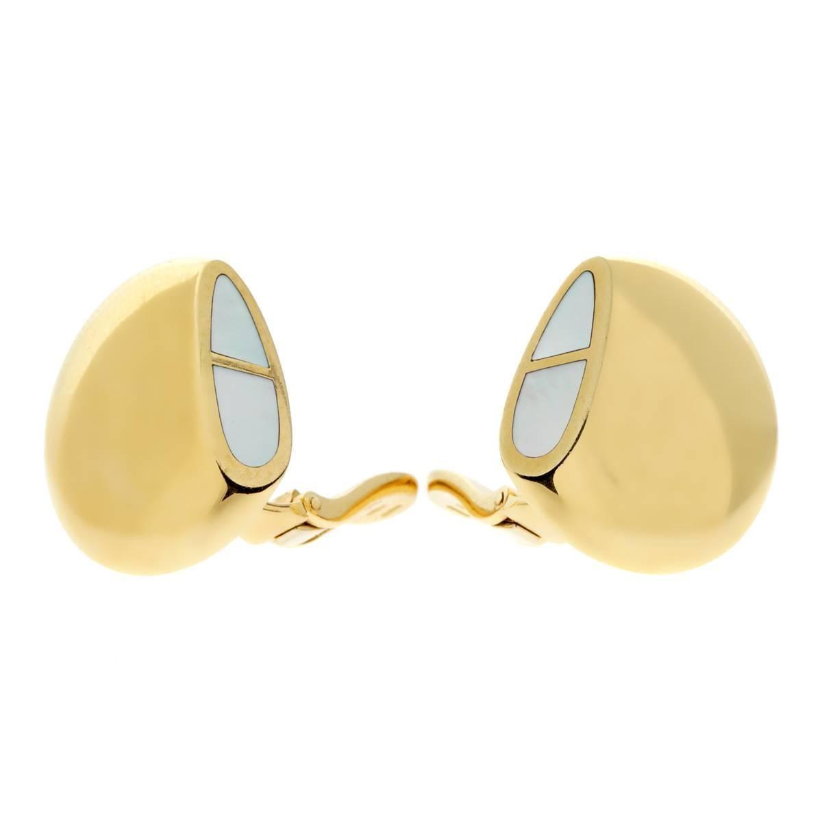 Hermes Gold Mother-of-Pearl Earrings