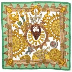 Hermes Gold & Multicolor 'L'Or Des Chefs' Silk Scarf
