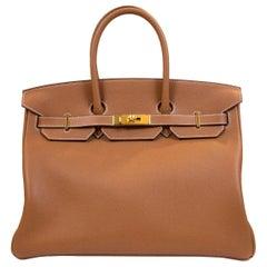 Hermès Gold Novilo 35cm SAC Birkin Bag