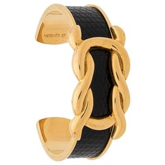 Hermes Gold Plated and Black Leather Bangle Bracelet