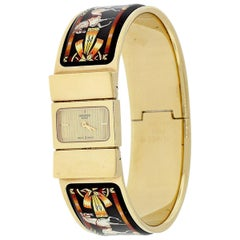 Hermes Gold Plated Locket Blade Bangle Watch with Black Enamel