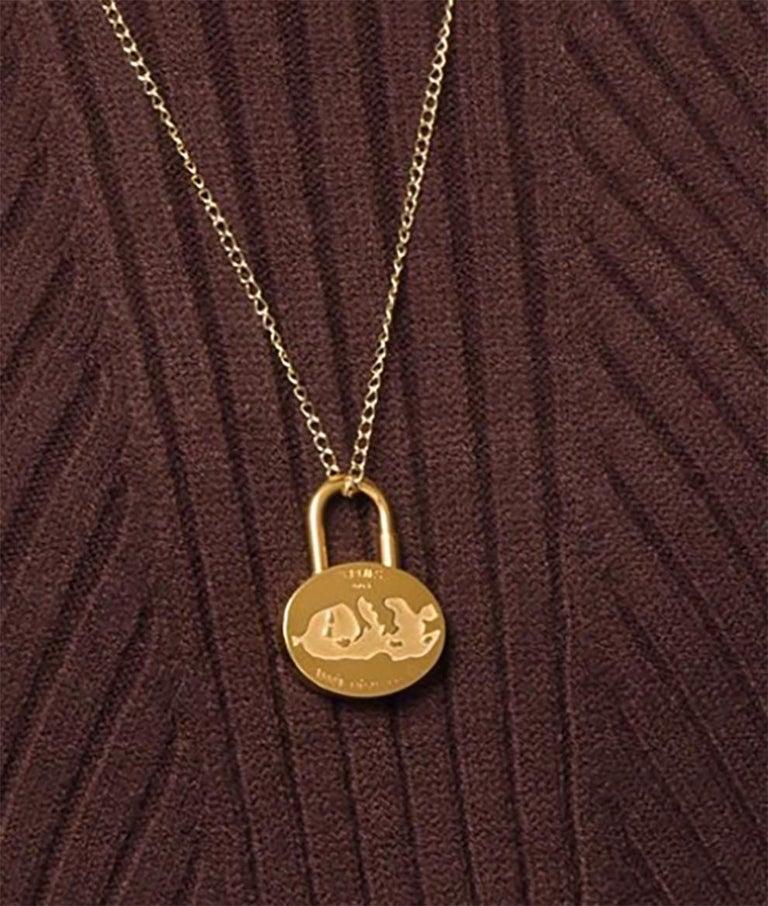 Women's or Men's Hermes Gold Plated Padlock Année Mediterrannée 2003 For Sale