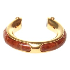 Hermes gold ring with lizard insert