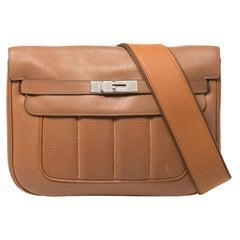 Hermes Gold Swift Leather Palladium Hardware Berline 29 Bag
