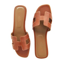 Hermes Gold Tan Oran Sandals 39 or 8.5 Shoes