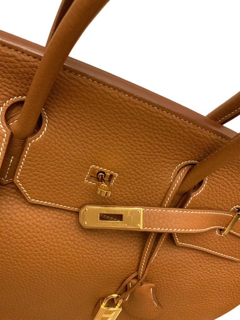 Brown Hermès Gold Togo Leather Birkin 40 Bag