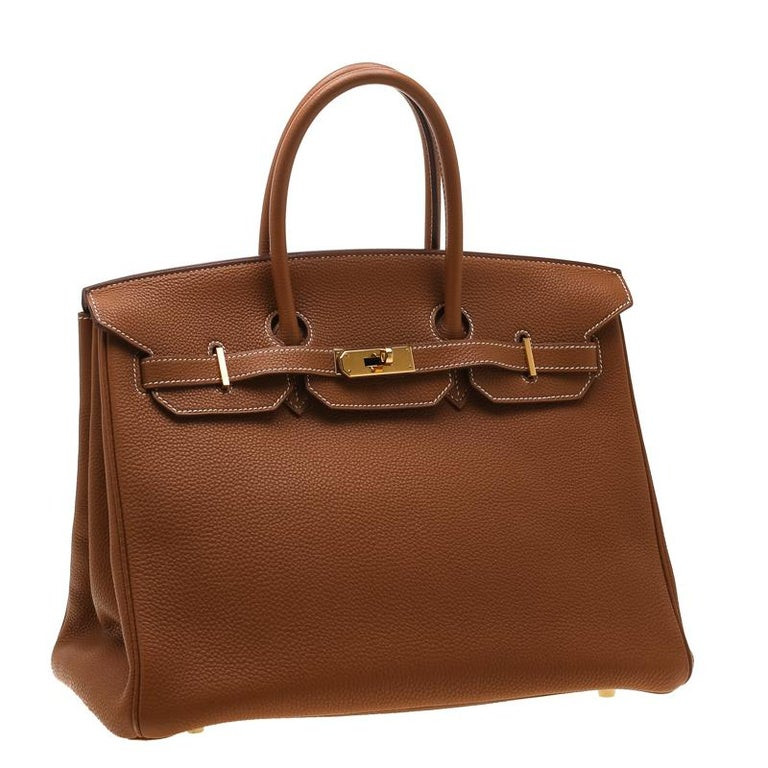 Hermes Gold Togo Leather Gold Hardware Birkin 35 Bag In Good Condition For Sale In Dubai, Al Qouz 2