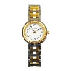 Hermes Gold Tone and Steel Ladies Clipper Quartz Wristwatch