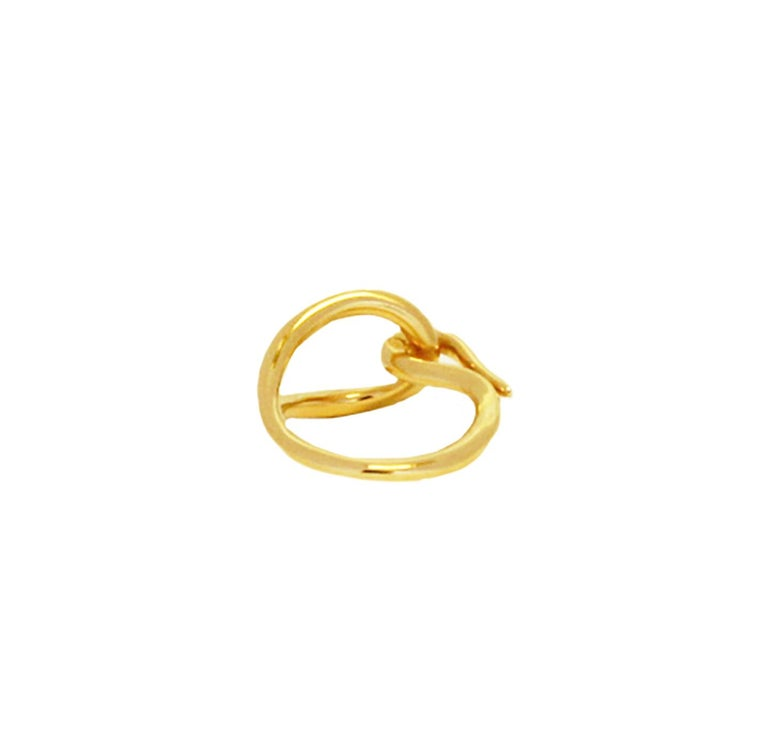 Women's Hermes Gold Tone Scarf Hook Tie Ring For Sale
