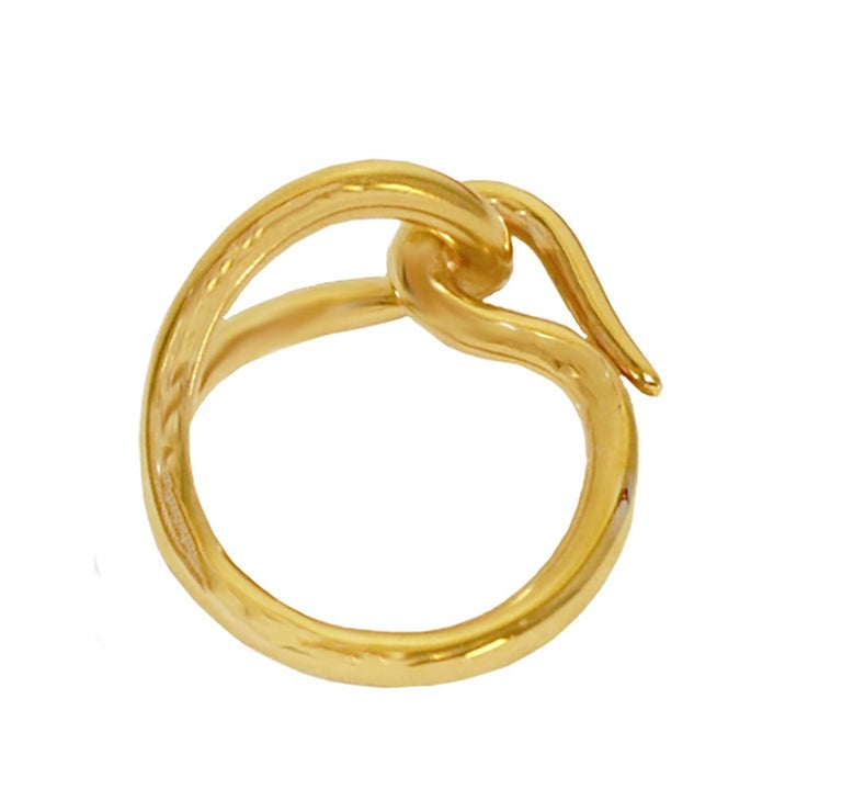 Hermes Gold Tone Scarf Hook Tie Ring For Sale 1