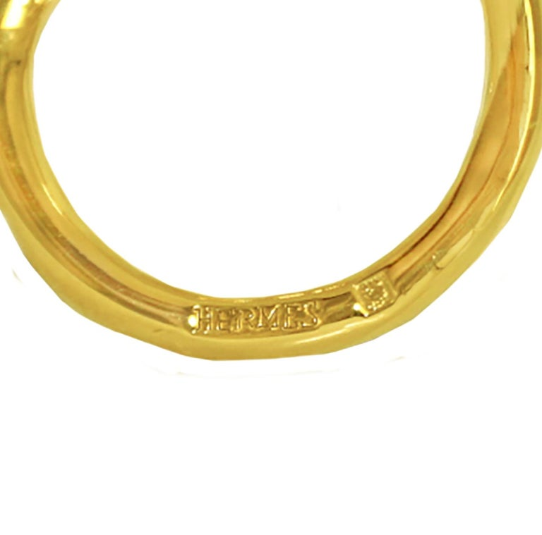 Hermes Gold Tone Scarf Hook Tie Ring For Sale 2