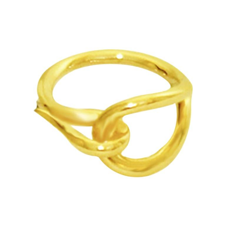 Hermes Gold Tone Scarf Hook Tie Ring For Sale