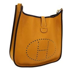 "Hermes Golden Trim Leather Canvas ""H"" Logo Men's Women's Crossbody Shoulder Bag"