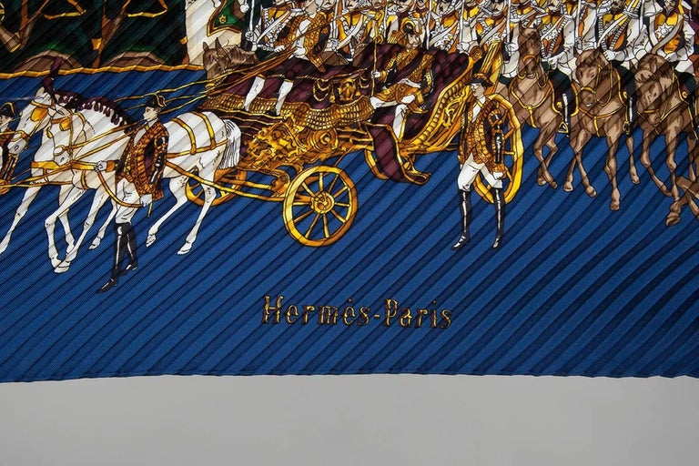 """Women's or Men's Hermes """"Grand Cortege A Moscou"""" Silk Plisse Scarf For Sale"""