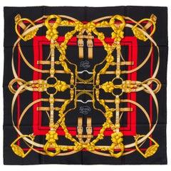 Hermès Grand Manege Black Silk Scarf