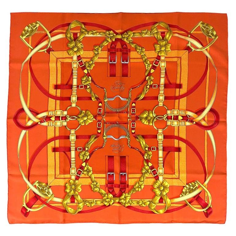"Hermès ""Grand Manège"" Twill Silk Scarf by Henri d'Origny, circa 1993. For Sale"