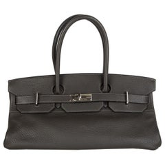 HERMES Graphite gray Clemence leather & Palladium JPG I SHOULDER BIRKIN Bag