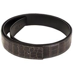 HERMES Graphite grey SHINY PRORSUS CROCODILE Belt Strap 100
