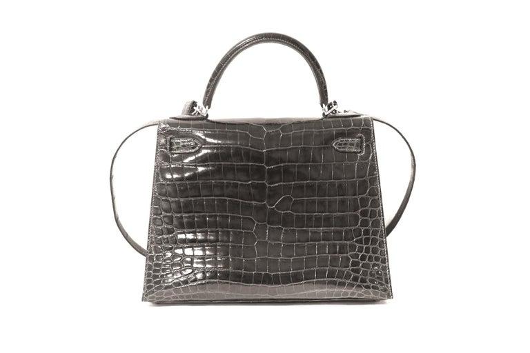 Black  Hermès Graphite Niloticus Crocodile 32 cm Kelly Bag For Sale