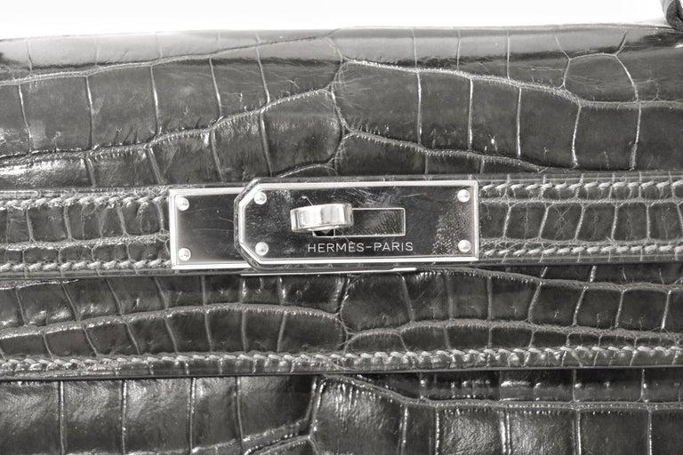 Women's  Hermès Graphite Niloticus Crocodile 32 cm Kelly Bag For Sale