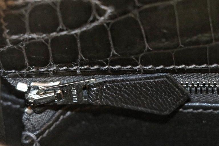 Hermès Graphite Niloticus Crocodile 32 cm Kelly Bag For Sale 2