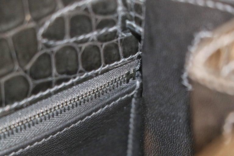 Hermès Graphite Niloticus Crocodile 32 cm Kelly Bag For Sale 3