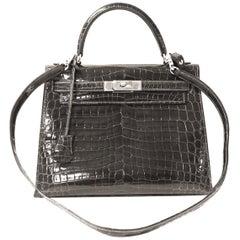 Hermès Graphite Niloticus Crocodile 32 cm Kelly Bag