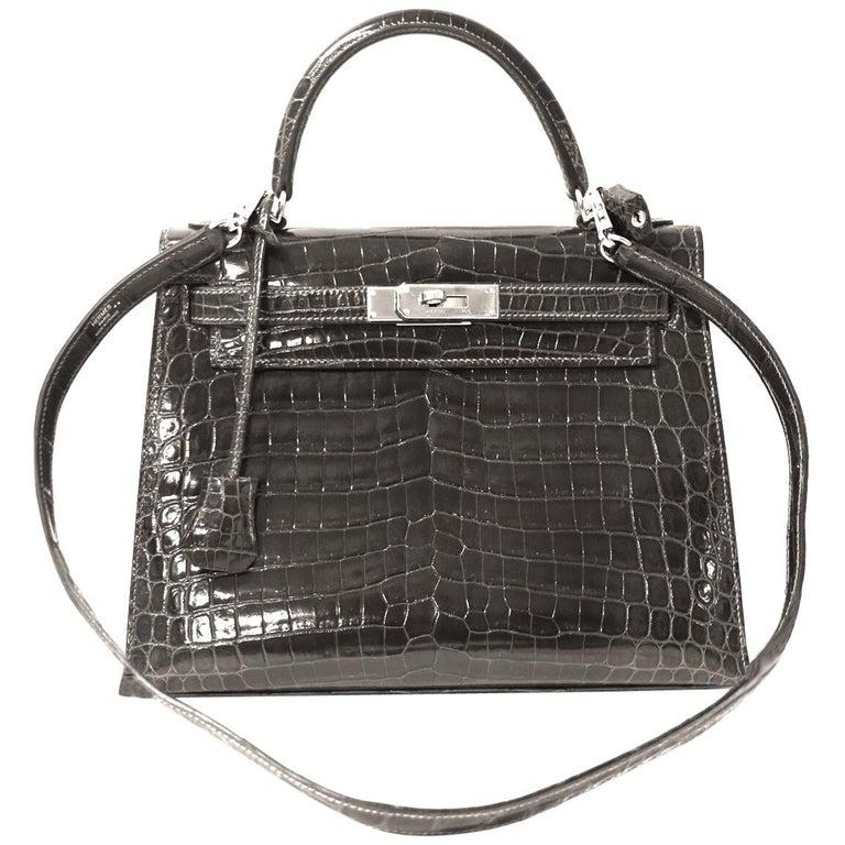 Hermès Graphite Niloticus Crocodile 32 cm Kelly Bag For Sale