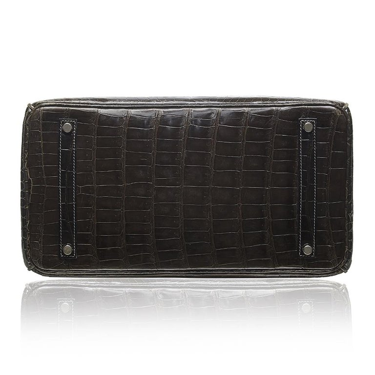 Black Hermès Gris Elephant Porosus Crocodile 35cm Birkin Bag For Sale