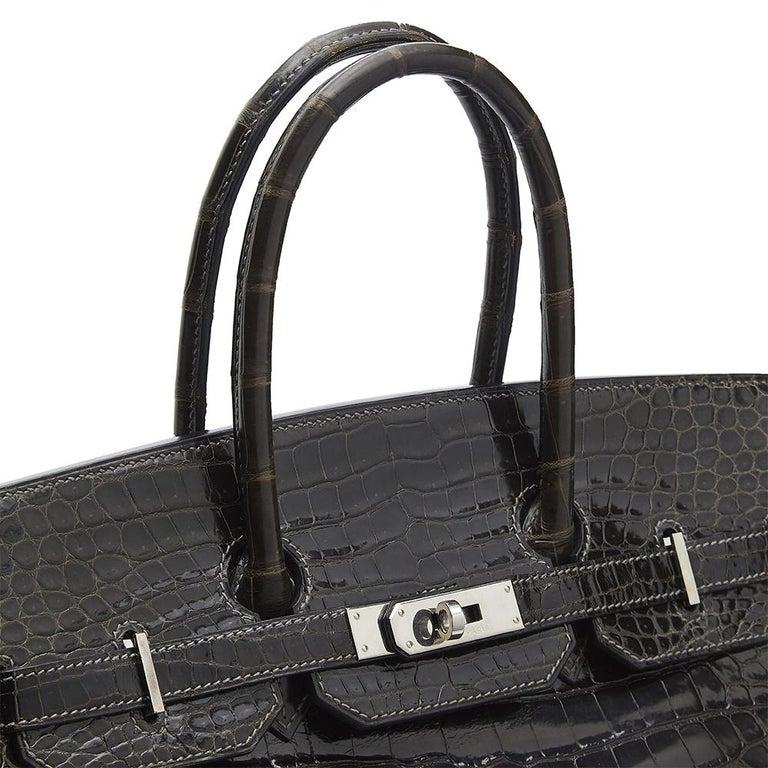 Hermès Gris Elephant Porosus Crocodile 35cm Birkin Bag In Excellent Condition For Sale In London, GB
