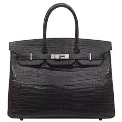 Hermès Gris Elephant Porosus Crocodile 35cm Birkin Bag