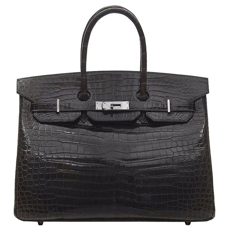 Hermès Gris Elephant Porosus Crocodile 35cm Birkin Bag For Sale