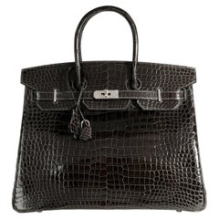 Hermès Graphite Shiny Porosus Crocodile Birkin 35 PHW