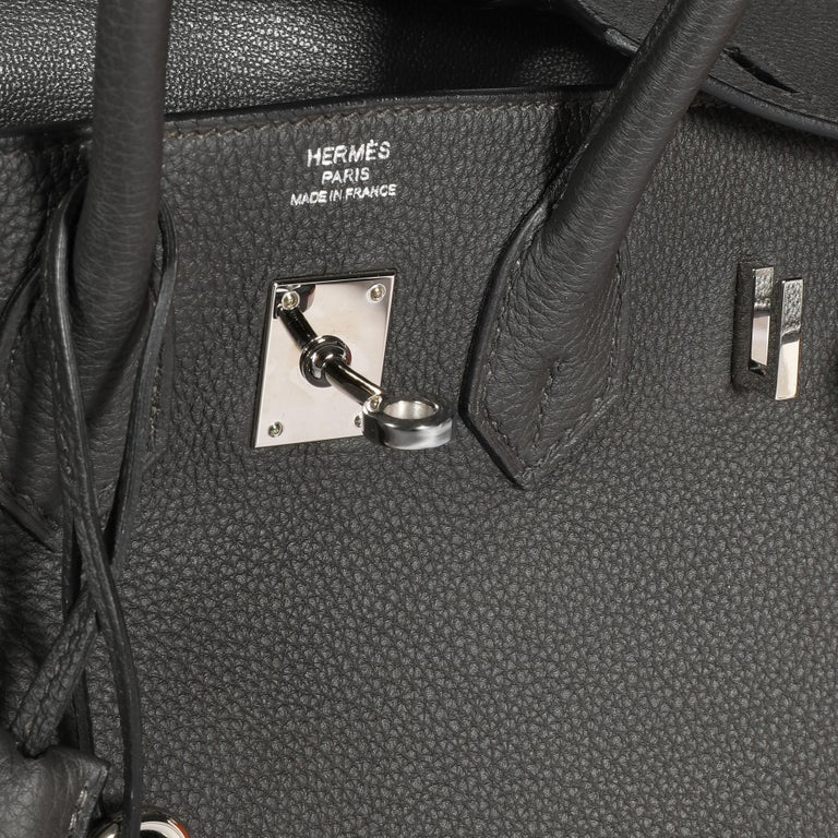 Women's Hermès Graphite Togo Leather Birkin 25 PHW For Sale