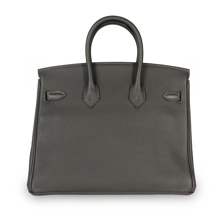 Hermès Graphite Togo Leather Birkin 25 PHW For Sale 1
