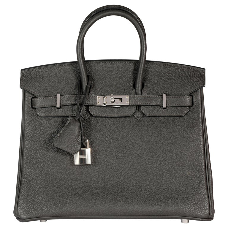 Hermès Graphite Togo Leather Birkin 25 PHW For Sale