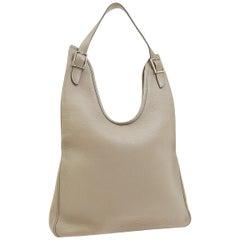 Hermes Gray Leather Silver Buckle Large Hobo Carryall Shoulder Bag