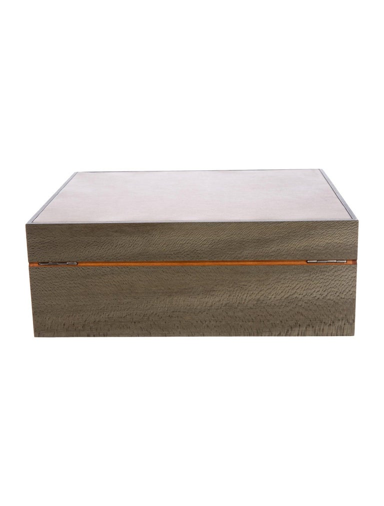 Hermes Gray Wood Veneer Leather Cedar Men's Cigar Humidor Storage Case in Box For Sale 1