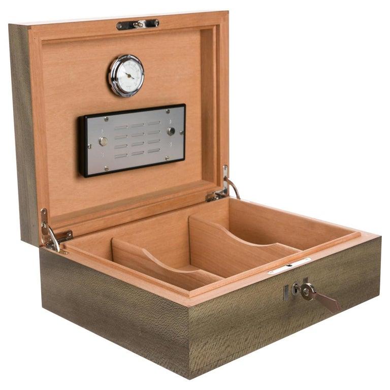 Hermes Gray Wood Veneer Leather Cedar Men's Cigar Humidor Storage Case in Box For Sale