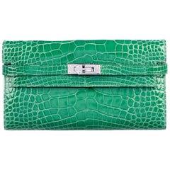 Hermes Green Alligator Palladium Evening Kelly Clutch Wallet Bag